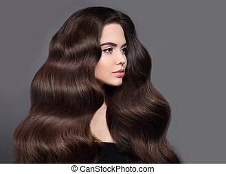 mooi, bruine , hairstyle, brunette, beauty, gezonde , product., makeup, shampoo, vrijstaand, lang, grijze , achtergrond., golvend, studio, hair., verticaal, meisje, glanzend, model, care