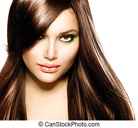 mooi, brunette, girl., gezonde , lang bruin haar
