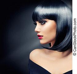mooi, brunette, girl., gezonde , zwart haar