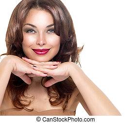 mooi, brunette, girl., professioneel, makeup, en, gezonde , haar