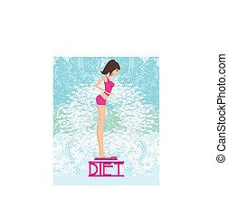 mooi, brunette, haar, gewicht toonladders, controleren, slank