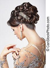 mooi, brunette, hairstyle., elegantie, luxe, fijn, chic.