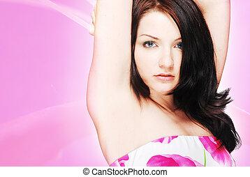 mooi, brunette, in, floral jurk, op, roze,...