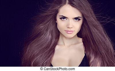 mooi, brunette, meisje, met, gezonde , lang, kleuren, haar
