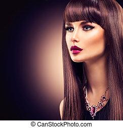 mooi, brunette, meisje, met, gezonde , langharige