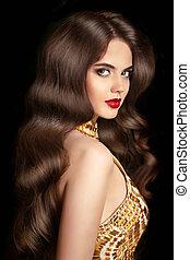 mooi, brunette, meisje, met, lang, golvend, glanzend, hairstyle