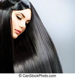 mooi, brunette, recht, lang, hair., meisje