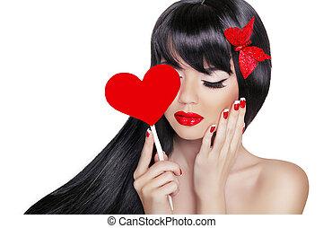 mooi, brunette, vrouw, met, gezonde , lang, black , hair., valentijn