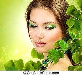 mooi, buiten, beauty, lente, leaves., groene, meisje