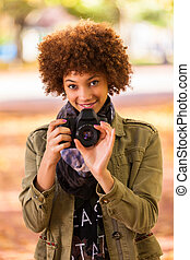 mooi, buiten, mensen, fototoestel, afrikaan, -, jonge,...