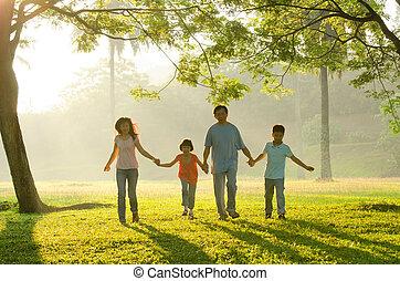 mooi, buiten, silhouette, gezin, mensen, samen, aziaat, tijd, gedurende, het genieten van, qualitye, zonopkomst