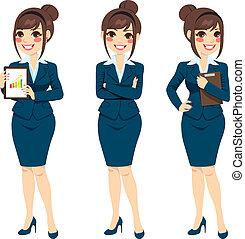mooi, businesswoman, het poseren