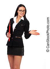 mooi, businesswoman, jonge