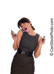 mooi, businesswomen, het spreken, met, iemand, door, mobiele telefoon