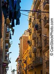mooi, buurt, straten, barceloneta, barcelona