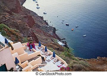 mooi, caldera., santorini, kusten, zee