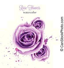 mooi, card., roos, uitnodiging, achtergronden, vrijstaand, of, watercolor, vector, trouwfeest, datum, sparen, viooltje, template.