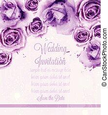 mooi, card., viooltje, achtergronden, of, watercolor, rozen, vector, uitnodiging, datum, trouwfeest, sparen, template.