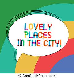 mooi, city., kleurenfoto, ovaal, schrijvende , aantekening, toespraak, tekst, mooi en gracieus, bel, het tonen, lege, gebouwen, zakelijk, geschetste, oriëntatiepunt, balloon., plaatsen, vast lichaam, architectuur, showcasing