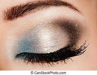 mooi, close-up, oog, womanish
