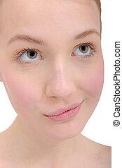 mooi, close-up, vrouw hoofdbreken, jonge, verticaal