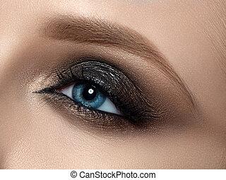 mooi, closeup vrouw, oog makeup