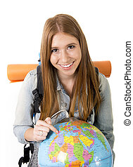 mooi, concept, kies, haar, globe, bestemming, hand, student,...