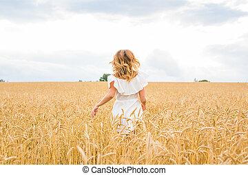 mooi, concept, vrijheid, achtergrond., rennende , field., meisje