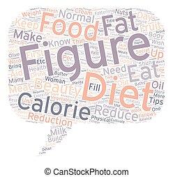 mooi, concept, vrouwtje cijfer, tekst, dieet, wordcloud, achtergrond, tips