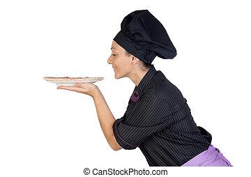 mooi, cook, vrouw, ruiken, ham, pizza