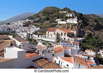 mooi, costa, sol, blancos), del, informatietechnologie, een, panoramisch, frigiliana, (pueblos, spain., witte , andalusia, staden, aanzicht