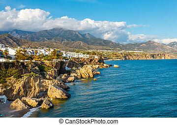 mooi, costa, sol, nerja, andalusia, del, strand, spanje, aanzicht