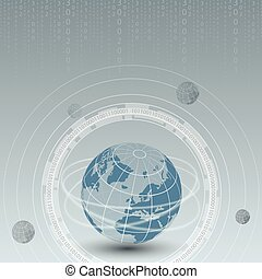 mooi, cyber, vector, achtergrond, wereld, technologie