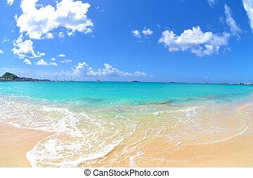 mooi, dag, op, een, caribisch strand