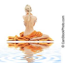 mooi, dame, met, sinaasappel, handdoeken, op wit, zand, #2