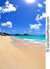 mooi, de caraïben, eiland, strand