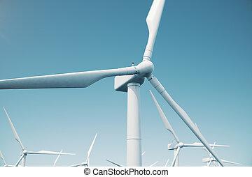 mooi, de, wind turbines, in, zee, ocean., schone energie, windenergie, ecologisch, concept., 3d, vertolking