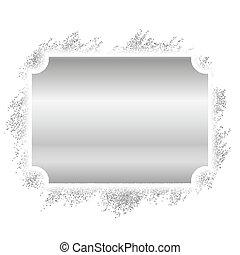 mooi, decoratief, deco, foto, elegant, schitteren, design., stijl, banner., ouderwetse , vrijstaand, achtergrond., luxe, witte kerst, frame., illustratie, kader, zilver, grens, versiering, vector