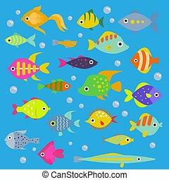 mooi, decoratief, swimfish, aquatisch, visje, nautisch,...