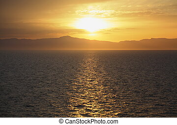 mooi, dek, cruise, water., ship., ondergaande zon , onder overzicht