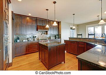 mooi, dennenboom, gewoonte, hout, luxe, interieur, keuken, design.