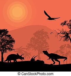 mooi, dinosaurussen, silhouettes, landscape
