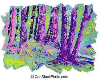 mooi, doek, acrylic schilderstuk, origineel, landscape