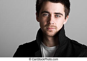 mooi, donkere haired, mannelijke , met, goatee baard
