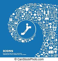 mooi, dons, set, centrum, iconen, verdraaid, een, groot, vector, aardig, spiraal, icon., pictogram, roltrap