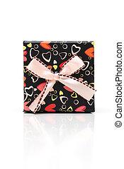 mooi, doosje, cadeau, zwarte achtergrond, witte