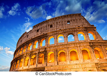 mooi, dramatisch, op, hemel, rome, colosseum