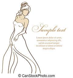 mooi, dress., illustratie, bruid, vector, trouwfeest, witte