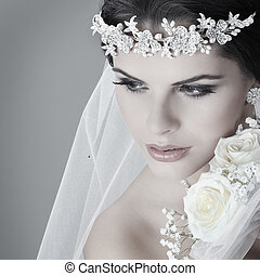 mooi, dress., versiering, bride., huwelijk portret