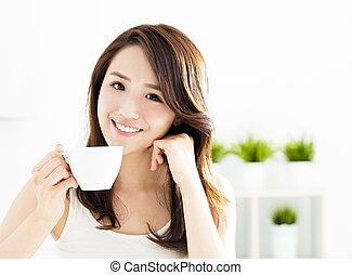 mooi, drinkt, vrouw, koffie, jonge